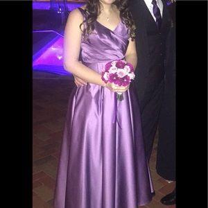 Beautiful plum/lilac satin dress.David's Bridal
